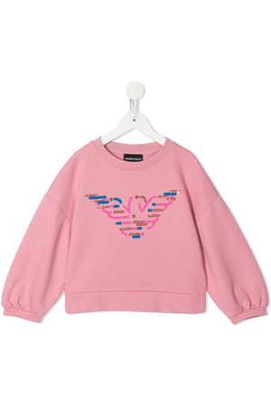 Emporio Armani Sequinned-eagle cotton sweatshirt