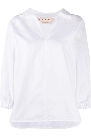 Marni Dames Crop Top - Crop-sleeve V-neck shirt
