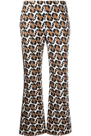 Fendi Stitched leopard pattern trousers