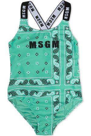 Msgm Meisjes Badpakken - Paisley print criss-cross strap swimsuit