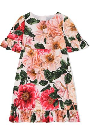 Dolce & Gabbana Meisjes Casual jurken - Floral-print short-sleeved dress