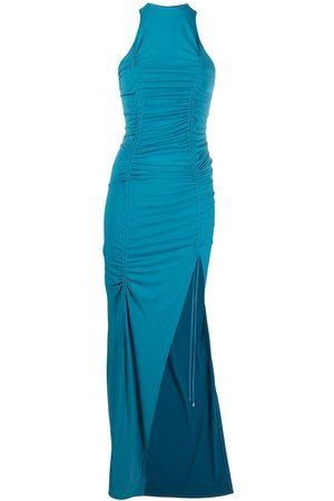 The Attico Draped-detailing side-slit evening dress