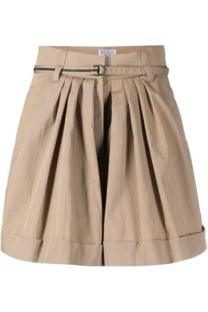 Brunello Cucinelli Pleated flared shorts