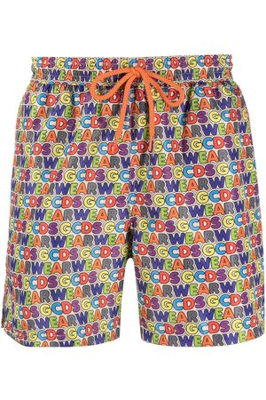 GCDS All-over logo print swim shorts