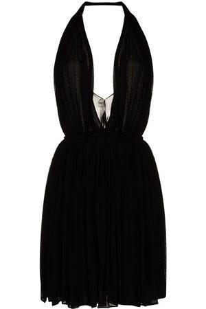 Saint Laurent Halterneck pleated mini dress