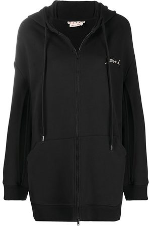 Marni Embroidered-logo slit-detail hodie