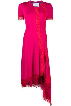 KOCHÉ Lace-embellished asymmetric dress