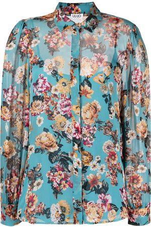 Liu Jo Dames T-shirts - Floral-print long-sleeved shirt