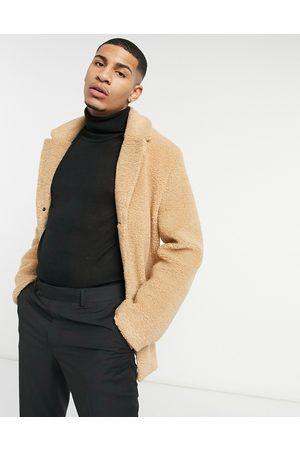 Harry Brown Square pocket teddy coat-Cream