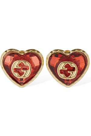 Gucci Dames Oorbellen - Interlocking G & Crystal Heart Earrings