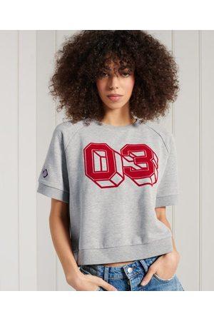 Superdry Collegiate T-shirt van sweatstof met kleurvlakken