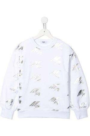 Msgm Meisjes Sweaters - Metallic logo print sweatshirt