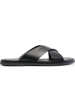 Bally Criss-crossed leather slides