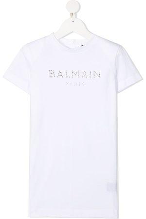 Balmain Meisjes Geprinte jurken - Embellished logo-print T-shirt dress