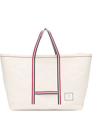 Thom Browne Heren Shoppers - Large striped tote bag
