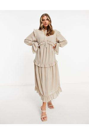 Pretty Lavish Ruffle midaxi smock dress with ruffle detail in