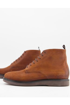 H by Hudson Troy lace up boots in tan waxed leather