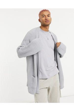 ASOS Oversized knitted rib cardigan in grey