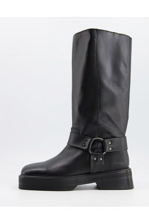 ASOS Chilli premium leather harness knee boots in black
