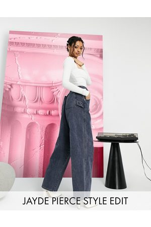 ASOS High rise 'worker' jeans in washed navy