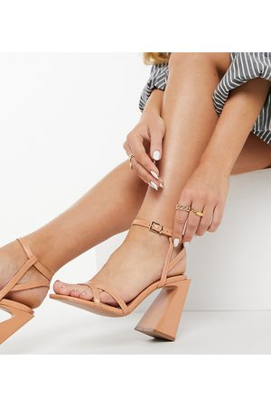ASOS Wide Fit Watson high heeled sandals in apricot-Orange