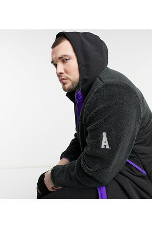 ASOS Plus borg jacket with contrast panel in purple and black
