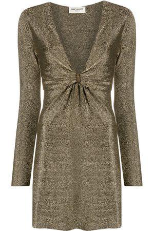 Saint Laurent Dames Feestjurken - Metallic plunging-neck dress