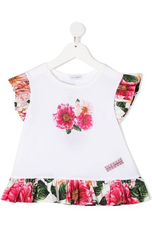 Dolce & Gabbana Floral-print ruffle-trim blouse