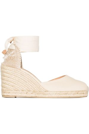 Castañer Dames Sleehakken - Carina 80mm ankle-tie wedge sandals