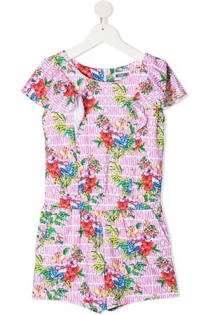 Moschino Floral-print ruffle-trim playsuit