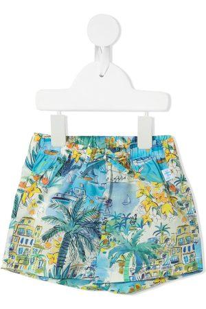 Il gufo Seaside town-print drawstring shorts