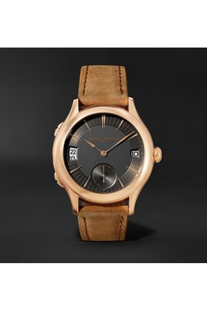 Laurent Ferrier Heren Horloges - Traveller Automatic 41mm 18-Karat Red Gold and Leather Watch, Ref. No. LCF007.R5.AR1.1