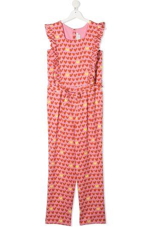 Stella McCartney TEEN ruffled heart-stripe jumpsuit