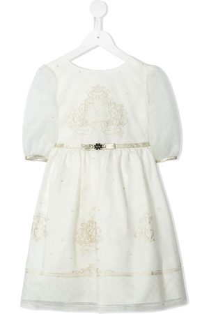 Lesy Logo-embroidered bow-detail dress