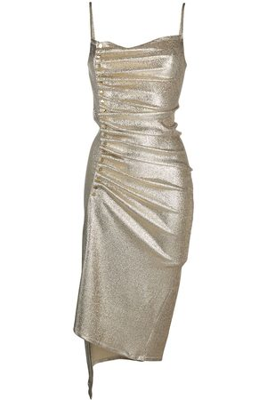 Paco rabanne Metallic pleated dress with side-button ruched detail