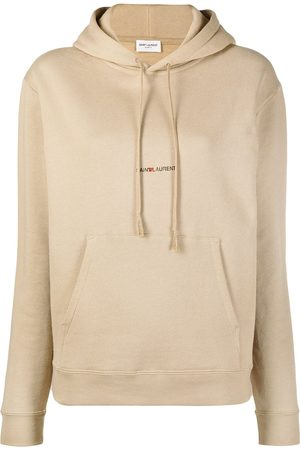 Saint Laurent Logo print drawstring hoodie
