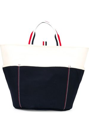 Thom Browne Two-tone stripe handle tote bag