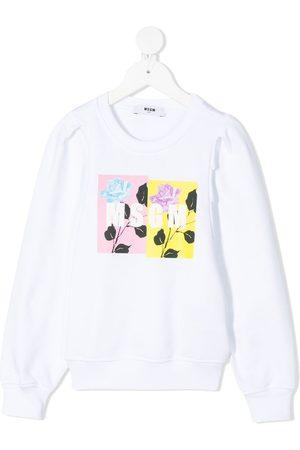 Msgm Floral-logo crew-neck sweatshirt