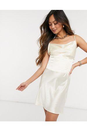 Steele Corset slip dress in ivory-Cream