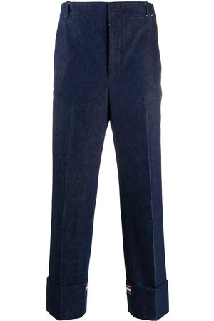 Thom Browne Heren Straight - Washed denim tailored trousers