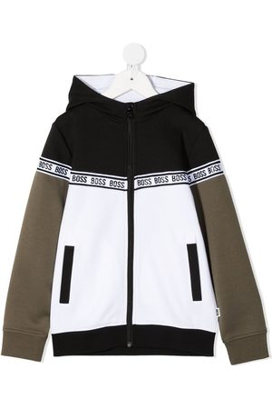 HUGO BOSS Logo-tape zip-up hoodie