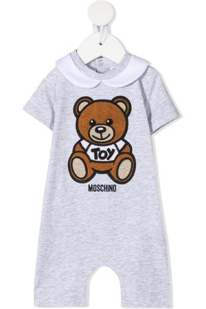 Moschino Teddy Bear embroidery short-sleeved romper