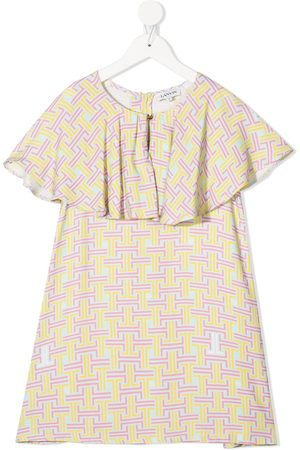 Lanvin Monogram frilled-panel dress