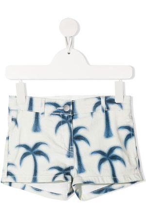 Stella McCartney Meisjes Shorts - Palm tree-print denim shorts
