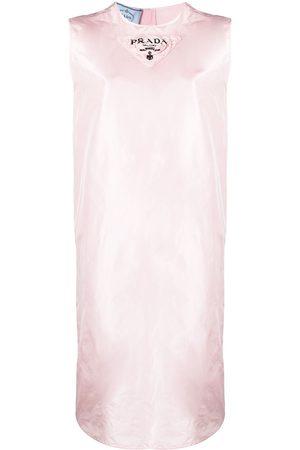 Prada Logo-print silk shift dress