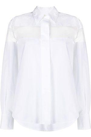 VALENTINO Sheer-panel long-sleeve shirt