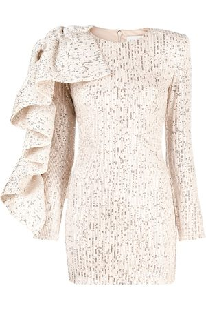 LOULOU Sequinned ruffle-embellished dress