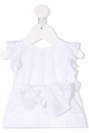 Il gufo Polka-dot wrap-waist blouse