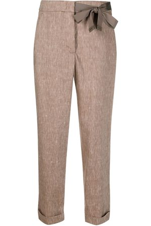 PESERICO SIGN Bow-detail cropped trousers