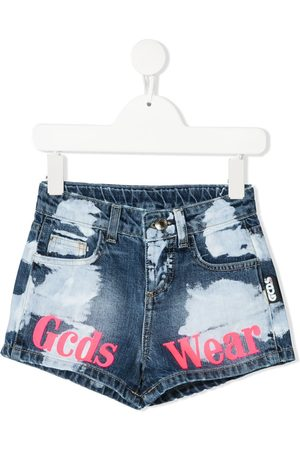 GCDS Painted denim shorts